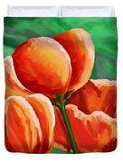 Red Tulips On Green Duvet Cover