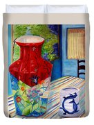 Red Vase And Cup Duvet Cover