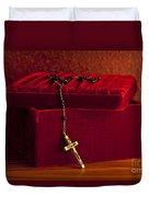 Red Velvet Box With Cross And Rosary Duvet Cover