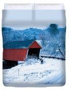 Red Vermont Covered Bridge Duvet Cover