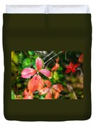 Red Viginia Creeper And Maple Leaves Duvet Cover