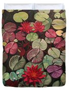 Red Water Lilies Duvet Cover