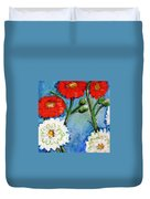 Red White And Blue Flowers Duvet Cover