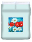 Red White And Blue Zinnia Flowers Duvet Cover