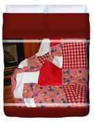 Red White And Gingham With Flowery Blocks Patchwork Quilt Duvet Cover