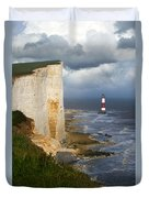 White Cliffs And Red-white Striped Lightouse In The Sea Duvet Cover