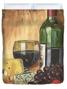 Red Wine And Cheese Duvet Cover by Debbie DeWitt