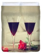 Red Wine And Roses Duvet Cover
