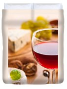 Red Wine With Cheese Duvet Cover by Amanda Elwell