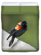 Red-winged Blackbird Display Duvet Cover