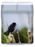 Red Winged Blackbird Singing Duvet Cover