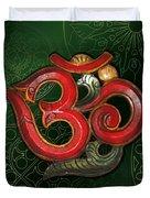 Red Wooden Om Green Mandala Duvet Cover
