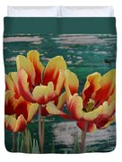 Red Yellow Tulips Duvet Cover