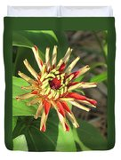 Red Zinnia- Early Bloom Duvet Cover