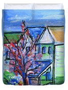 Redbud Tree At West Cape May Duvet Cover