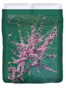 Redbuds Over San Antonio River Duvet Cover