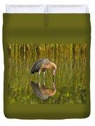 Reddish Egret Reflection Duvet Cover