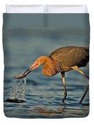 Reddish Egret Strike Duvet Cover
