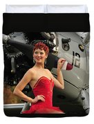 Redhead Pin-up Girl In 1940s Style Duvet Cover by Christian Kieffer
