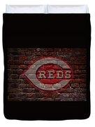 Reds Baseball Graffiti On Brick  Duvet Cover