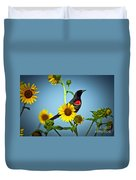 Redwing In Sunflowers Duvet Cover