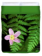Redwood Sorrel Wildflower Nestled In Ferns Duvet Cover