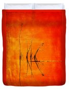 Reeds And Reflection In Orange Duvet Cover