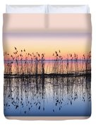Reeds Reflected In Water At Dusk Ile Duvet Cover