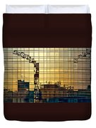 Reflected Cranes At Sunset Duvet Cover