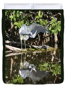 Reflected Great Blue Heron Duvet Cover