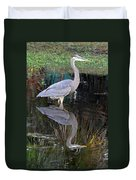 Reflecting Great Blue Heron Duvet Cover