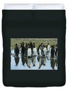 Reflecting King Penguins Duvet Cover