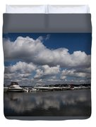 Reflecting On Boats And Clouds - Port Perry Marina Duvet Cover