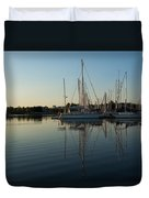 Reflecting On Yachts - Hot Summer Afternoon Mirror Duvet Cover