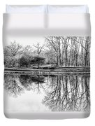 Reflection In Black And White Duvet Cover