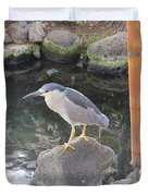 Reflection Of A Black-crowned Night Heron Duvet Cover