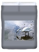 Reflection Of A Lone White Swan Duvet Cover