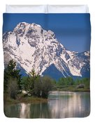 Reflection Of A Mountain Range Duvet Cover