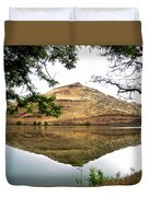 Reflection Of Butte Across From Lepage Rv Park Into Columbia River-oregon Duvet Cover