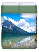 Reflection Of Glaciers And Clouds In Emerald Lake In Yoho National Park-british Columbia-canada Duvet Cover