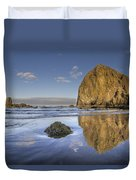 Reflection Of Haystack Rock At Cannon Beach 3 Duvet Cover
