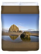 Reflection Of Haystack Rock At Cannon Beach Duvet Cover