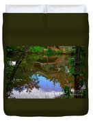 Reflection Of House On Water Duvet Cover