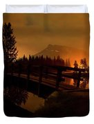 Reflection Of Mountains In Lake, Sunrise Duvet Cover