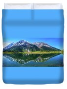 Reflection Of Mountains In Tern Lake Duvet Cover