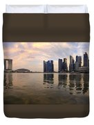 Reflection Of Singapore Skyline Panorama Duvet Cover