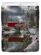 reflection of Slaughterhouse covered bridge Duvet Cover