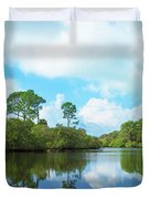 Reflection Of Trees And Clouds In South Duvet Cover