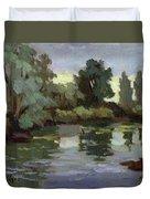 Reflections Duwamish River Duvet Cover