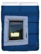 Reflections In A Shed Window - Curiosity - Fishing Duvet Cover